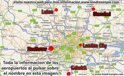 Mapa Aeropuertos de Londres